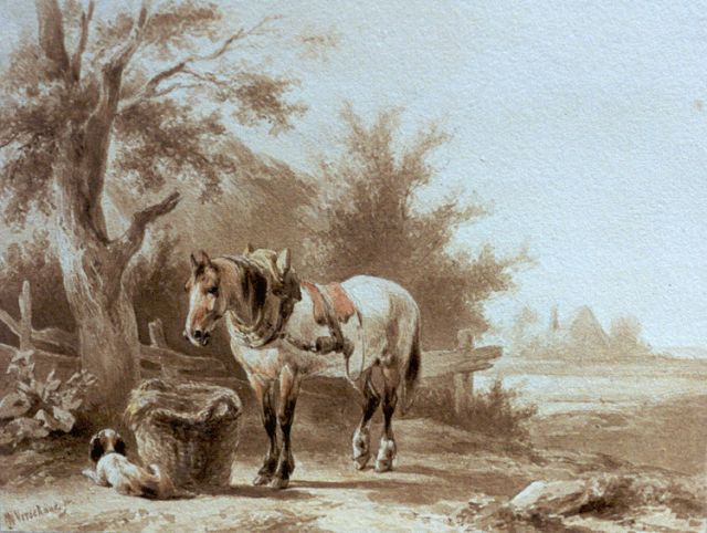 Wouterus Verschuur | A horse and a dog in a landscape, ink on paper, 13.7 x 18.0 cm, signed l.l.