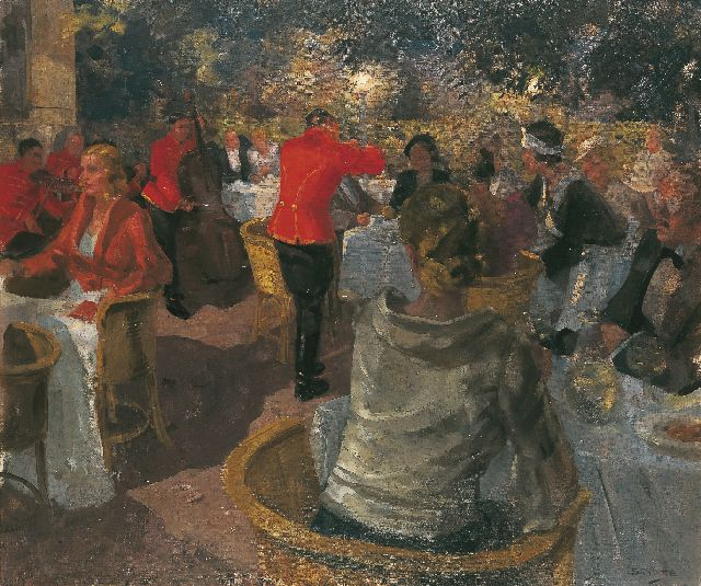 Louis Schutte | Café Mirabell, Salzburg, oil on canvas, 100.2 x 120.3 cm, signed l.r.
