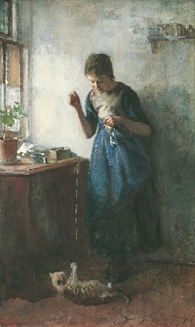Albert Neuhuys | A girl playing with the cat, watercolour on paper, 47.5 x 29.0 cm, signed l.r. and dated '77