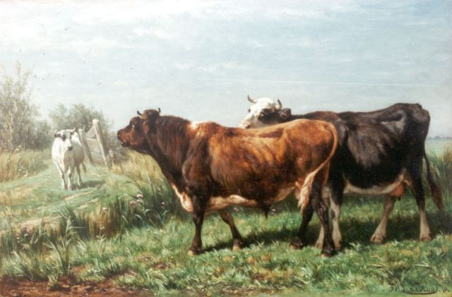 Jan de Haas | Cows in a Meadow, oil on panel, 36.8 x 55.1 cm, signed l.r. and l.r. and dated 1870 on the reverse