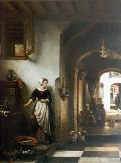 Johannes Anthonie Balthasar Stroebel | Figures in a Dutch interior, oil on panel, 54.7 x 41.9 cm, signed l.r. and dated '66