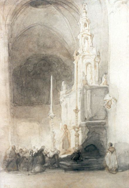 Johannes Bosboom | At the church service, watercolour on paper, 14.5 x 10.5 cm, signed l.l.