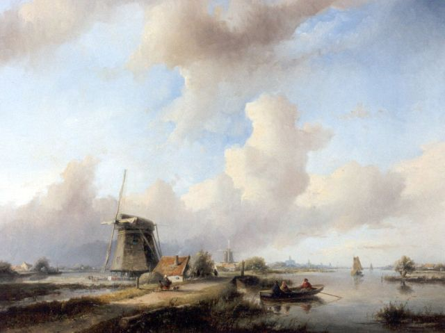 Jan Jacob Spohler | An extensive river landscape with figures by a windmill, oil on panel, 56.3 x 71.7 cm, signed l.l.