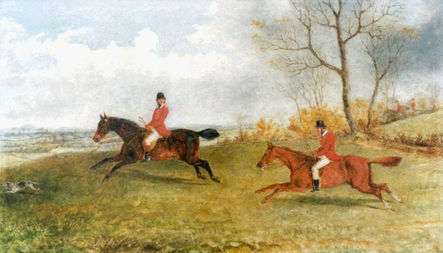 George Henry Laporte | The hunt, oil on panel, 22.5 x 38.0 cm, signed on the reverse