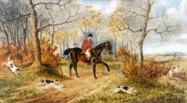 George Henry Laporte | Hunting scene, oil on panel, 22.0 x 37.3 cm, signed l.l. and dated 1871