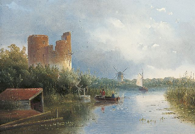 Jan Hendrik Willem Hoedt | A river landscape with fishermen, oil on panel, 21.9 x 30.9 cm, signed l.l. and dated '50