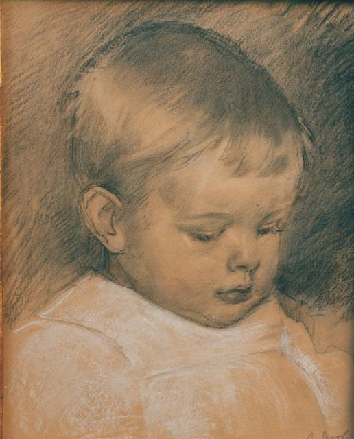 Cornelis Spoor | A portrait of a baby, drawing on paper, 27.5 x 21.2 cm, signed l.r.