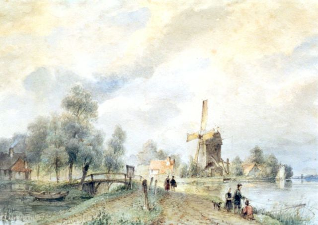 Lodewijk Johannes Kleijn | A river landscape with a windmill, watercolour on paper, 20.7 x 29.4 cm, signed l.l. and dated 1836
