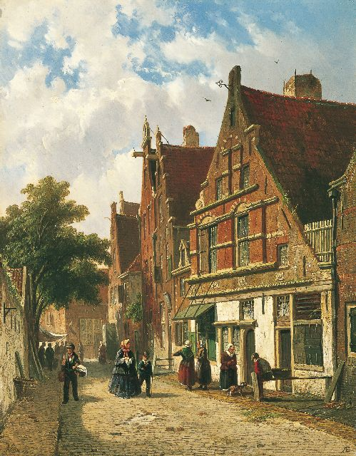 Adrianus Eversen | A Dutch street in summer, oil on panel, 34.5 x 27.0 cm, signed l.l. and l.r. with monogram
