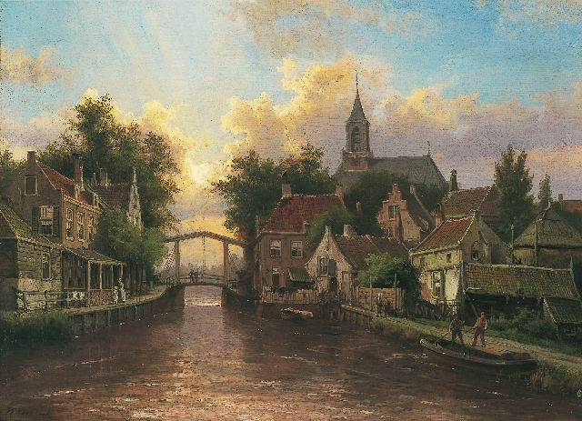 Willem Koekkoek | A view of a canal in a Dutch town, oil on canvas, 43.7 x 60.0 cm, signed l.l.