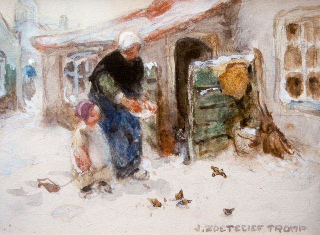 Jan Zoetelief Tromp | Feeding the birds in winter, watercolour on paper, 14.5 x 19.0 cm, signed l.r.