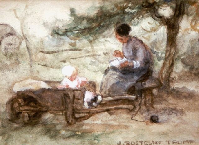 Jan Zoetelief Tromp | Mother and child in the orchard, watercolour on paper, 14.0 x 19.5 cm, signed l.r.