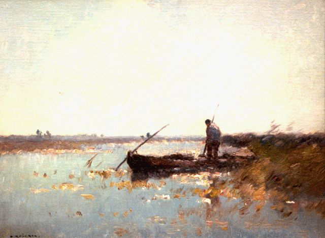 Aris Knikker | A fisherman in a flatboat, oil on canvas, 30.7 x 40.3 cm, signed l.l.