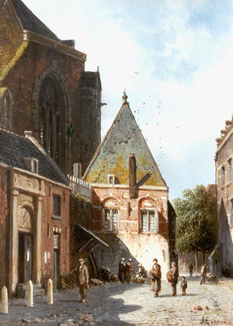 Adrianus Eversen | A town square in summer, oil on panel, 19.9 x 14.4 cm, signed l.r.