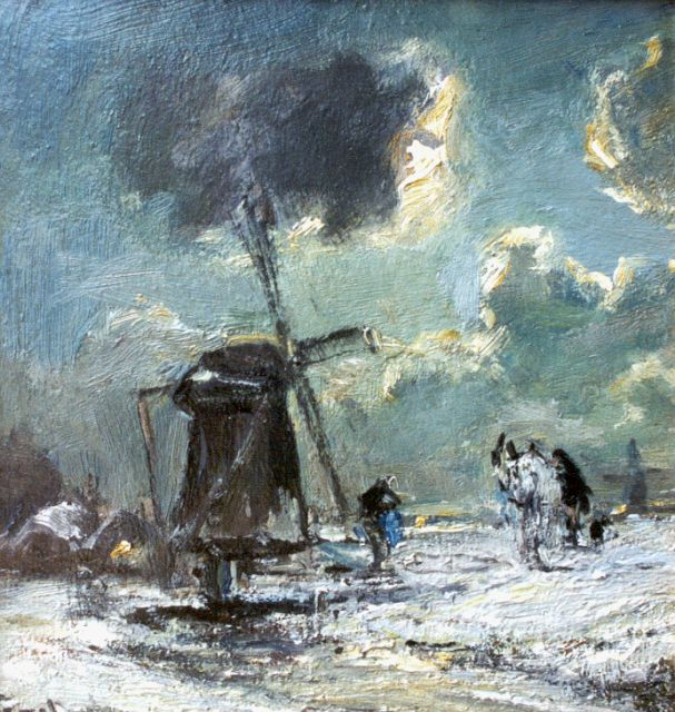Louis Apol | A windmill in a winter landscape, oil on panel, 19.0 x 18.3 cm, signed l.l.
