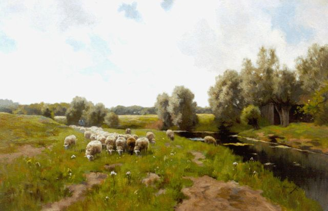 Willem Steelink jr. | A shepherd with his flock, oil on canvas, 62.8 x 95.0 cm, signed l.r.