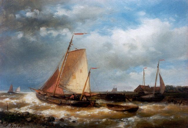 Abraham Hulk | Sailing vessel setting out, oil on panel, 18.0 x 25.5 cm, signed l.l.