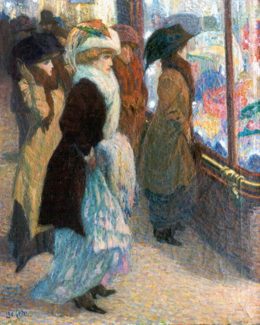 Leo Gestel | De hoedenwinkel, oil on canvas, 45.0 x 37.2 cm, gesigneerd l.o. and te dateren ca. 1908