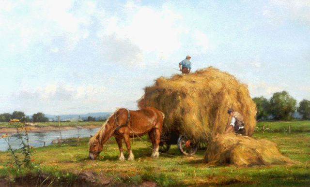 Jan Holtrup | A haycart, with the river IJssel beyond, oil on canvas, 50.0 x 80.3 cm, signed l.r.