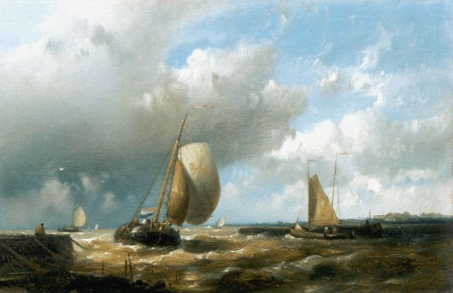 Abraham Hulk | Sailing vessels entering harbour, oil on panel, 16.7 x 25.6 cm, signed l.l.