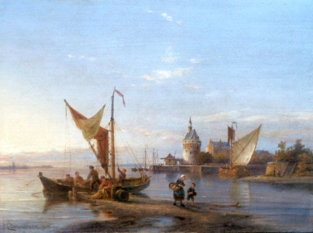 Pieter Cornelis Dommershuijzen | A view of the harbor of Hoorn, oil on panel, 30.2 x 40.8 cm, signed l.l. and dated 1908