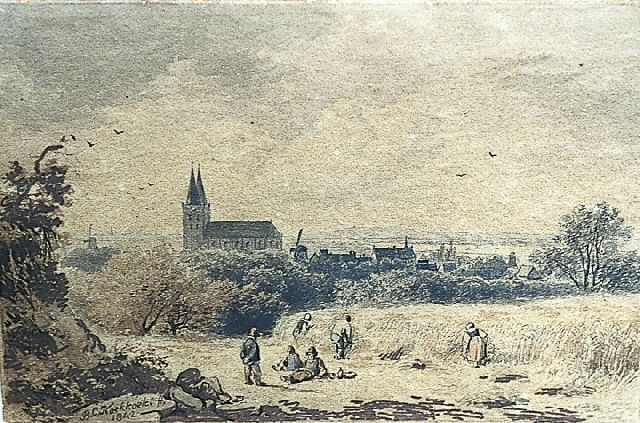 Barend Cornelis Koekkoek | View of Xanten, near Kleef, ink, pen and watercolour on paper, 8.0 x 12.2 cm, signed l.l. and dated 1842