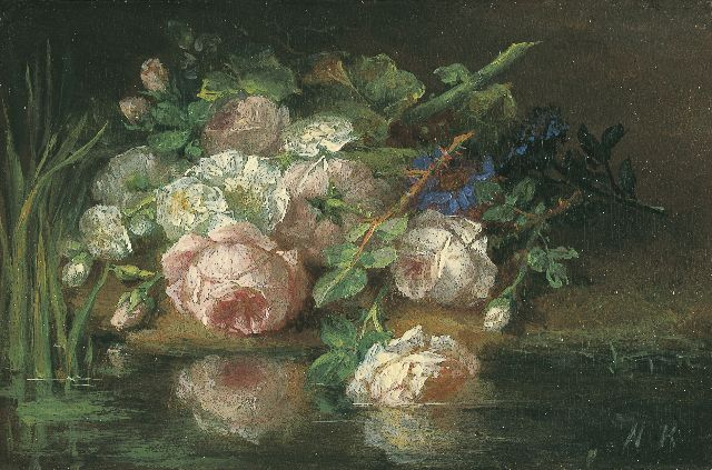 Margaretha Roosenboom | Flowers on the riverbank, oil on panel, 7.4 x 11.2 cm, signed l.r. with initials