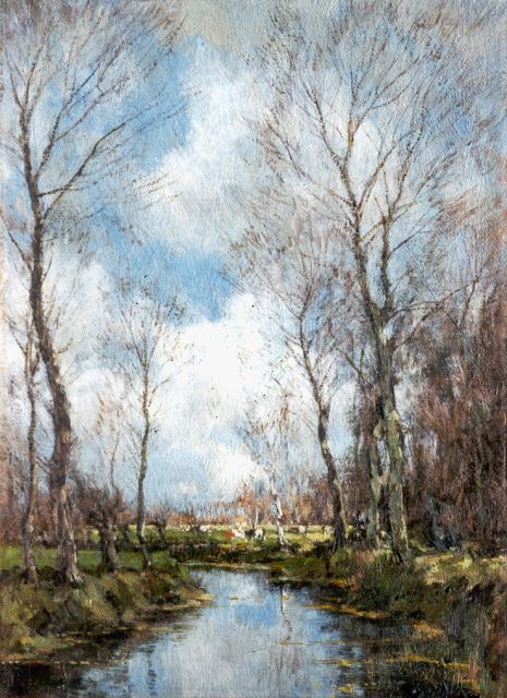 Arnold Marc Gorter | A creek in winter, oil on canvas, 36.3 x 26.5 cm, signed l.r.