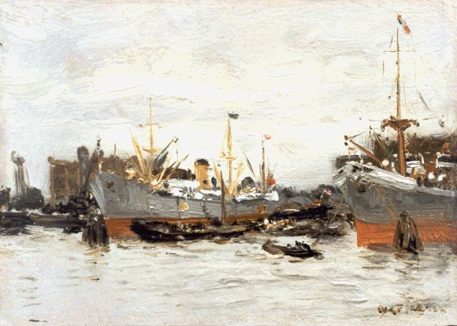 Willem George Frederik Jansen | Daily activities in the Rotterdam harbour, oil on panel, 15.0 x 21.0 cm, signed l.r.