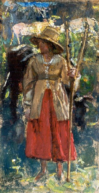 Gerard Westermann | Shepherdess, oil on canvas laid down on cardboard, 28.2 x 15.5 cm, signed l.l. and dated '43