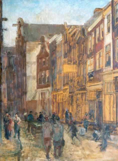 Gerard Johan Staller | A street, Amsterdam, black chalk and oil on canvas, 80.2 x 60.1 cm