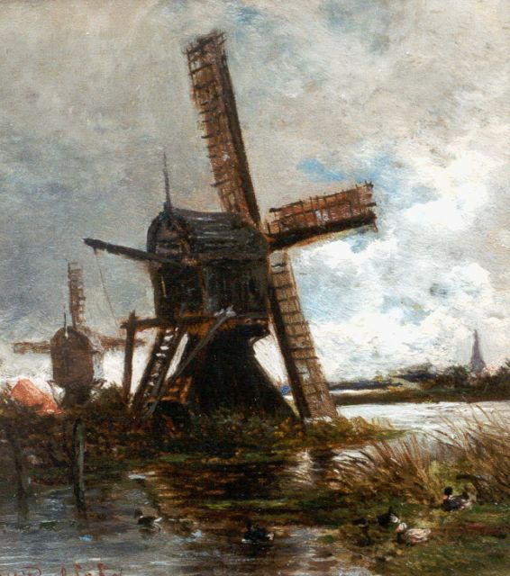 Roelofs W.  | Smockmills along a canal, oil on panel, 14.5 x 12.9 cm, signed l.l. and dated '56