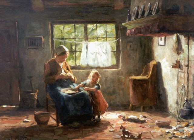 Evert Pieters | Interior with mother and child, oil on panel, 26.6 x 36.0 cm, signed l.l.
