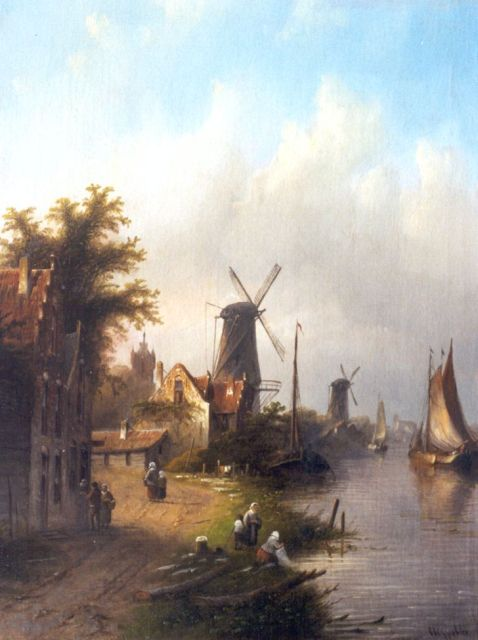 Jacob Jan Coenraad Spohler | A river landscape with moored boats, oil on canvas, 44.8 x 35.0 cm, signed l.r.