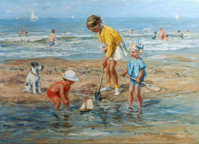 Jan Zoetelief Tromp | Children playing on the beach of Katwijk, oil on canvas, 35.5 x 50.8 cm, signed l.r.