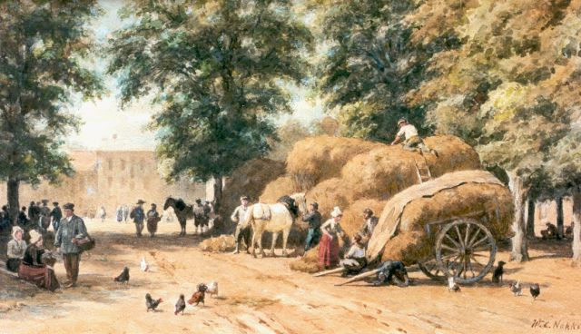 Willem Carel Nakken | A market with haycarts, watercolour on paper, 31.8 x 53.4 cm, signed l.r.