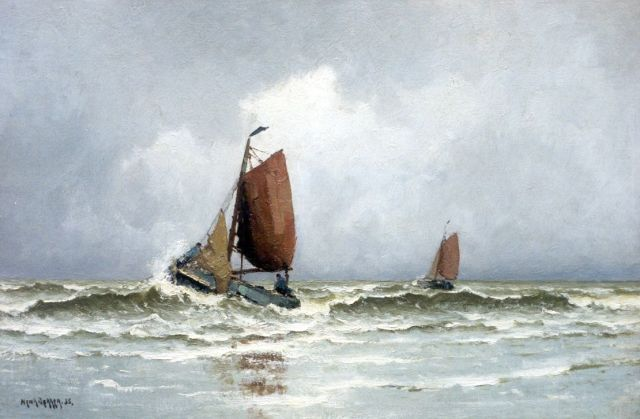 Henk Dekker | Shipping in the surf, oil on canvas, 40.2 x 60.3 cm, signed l.l. and dated '35