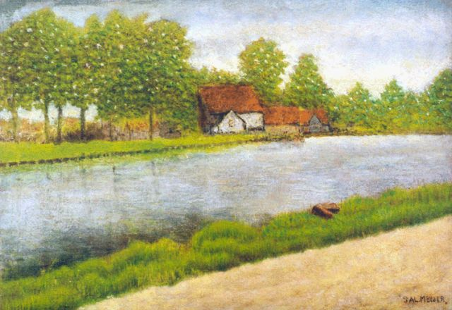 Sal Meijer | A farm, Ouderkerk aan de Amstel, oil on panel, 18.9 x 27.0 cm, signed l.r. and dated 1940 on the reverse