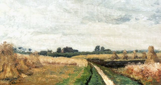 Paul Joseph Constantin Gabriel | Corn sheafs, oil on canvas laid down on panel, 18.9 x 33.4 cm, signed l.l.