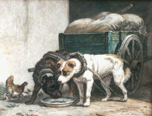 Henriette Ronner-Knip | Draft dogs eating, watercolour on paper, 35.0 x 44.5 cm, signed l.r. and dated 1871