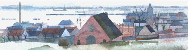 Theo Bitter | A view of the river Rhine at Oosterbeek, watercolour on paper, 10.3 x 32.0 cm, signed l.l. and on the reverse and dated '52