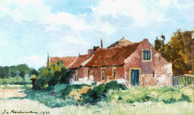 Johannes Cornelis Roelandse | Farmhouses, oil on canvas laid down on panel, 23.4 x 38.5 cm, signed l.l. and dated 1921