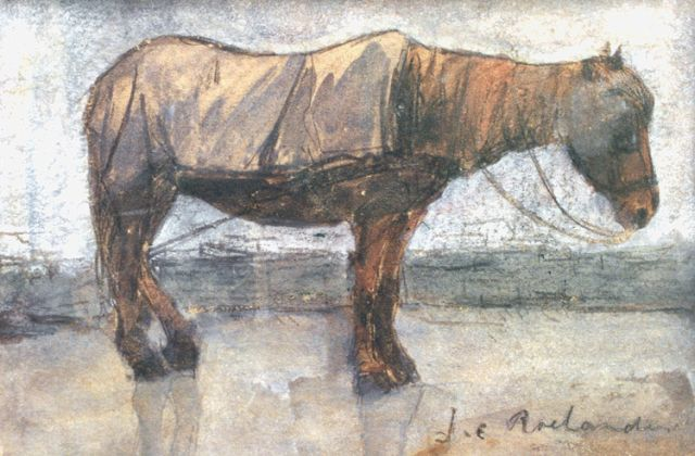 Johannes Cornelis Roelandse | A horse, chalk and watercolour on paper, 12.1 x 18.1 cm, signed l.r.