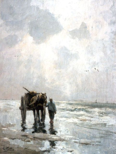 Evert Pieters | Shell-gatherer on the beach, oil on canvas, 49.1 x 38.3 cm, signed l.l.