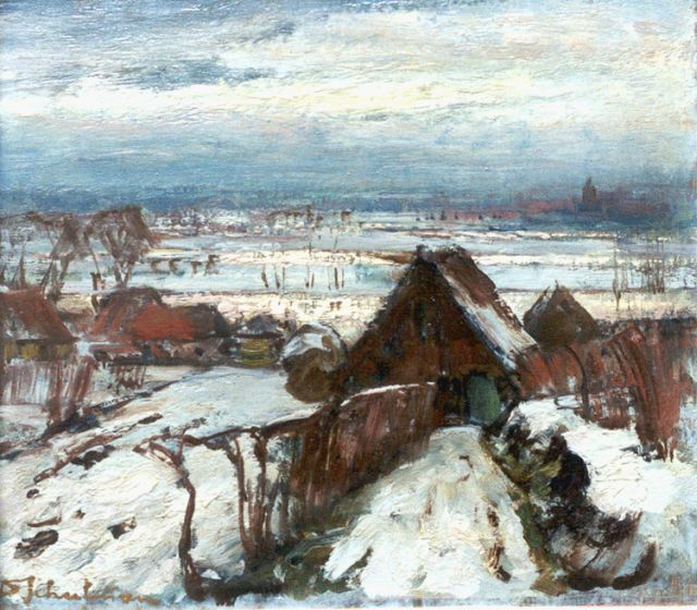 David Schulman | A winter landscape, Betuwe, oil on panel, 25.3 x 29.4 cm, signed l.l.