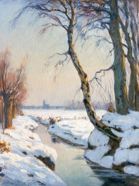 Johan Meijer | A snow-covered landscape, oil on panel, 32.2 x 24.1 cm, signed l.l. and on the reverse
