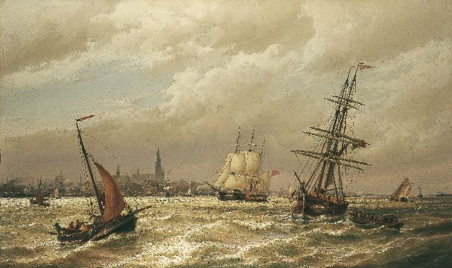 Cornelis Christiaan Dommelshuizen | Shipping on the Schelde, Antwerpen in the distance, oil on canvas, 76.2 x 127.3 cm, signed l.r. 'C. Dommersen' and dated 1880