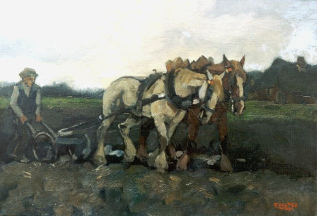 Cor Noltee | A ploughing farmer, oil on canvas, 35.3 x 50.5 cm, signed l.r.