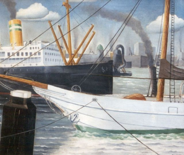Wim Bosma | Moored shipping, Rotterdam, oil on canvas, 60.0 x 70.0 cm, signed l.r. and dated 1931