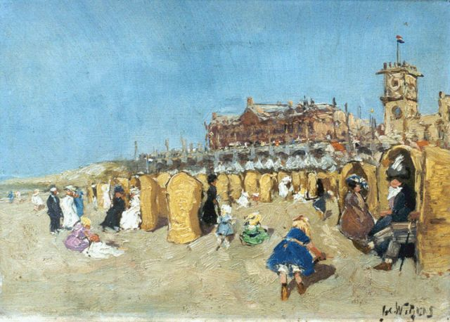 Adrianus Hendrikus 'Jacques' Witjens | Children playing on the beach, oil on canvas, 25.0 x 35.2 cm, signed l.r.